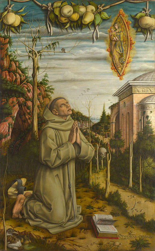 Fig. 1. Carlo Crivelli, The Vision of the Blessed Gabriele, c. 1489, egg and oil on poplar, 141 × 87 cm, © The National Gallery, London.