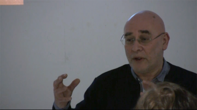 Adrian Rifkin during his performance-lecture 'On Writing the Last Line First (One of Three Possible Titles).'